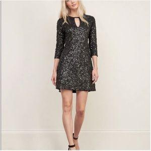 Abercrombie Sequin 3/4 Sleeve Black Shift Dress